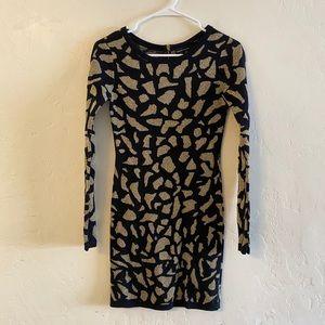 Moda International Black & Gold Sweater Dress XS